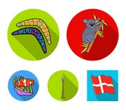 Koala on bamboo, boomerang, Sydney tower, fish clown and ammonium.Australia set collection icons in flat style vector. Symbol stock illustration Stock Images