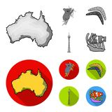 Koala on bamboo, boomerang, Sydney tower, fish clown and ammonium.Australia set collection icons in monochrome,flat. Style vector symbol stock illustration Royalty Free Stock Images