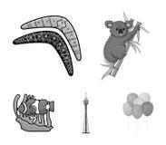 Koala on bamboo, boomerang, Sydney tower, fish clown and ammonium.Australia set collection icons in monochrome style. Vector symbol stock illustration Stock Photo
