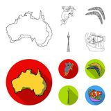 Koala on bamboo, boomerang, Sydney tower, fish clown and ammonium.Australia set collection icons in outline,flat style. Vector symbol stock illustration Stock Photos