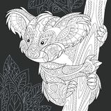 Koala bear in black and white style. Koala bear drawn in line art style. Jungle background in black and white colors on chalkboard. Coloring book. Coloring page Stock Photography
