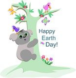 Koala Bear Celebrates Earth Day Stock Photos
