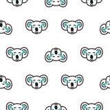 Koala bear heads funny seamless vector pattern in neutral colors. vector illustration
