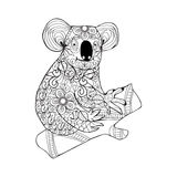 Koala. Black white hand drawn doodle animal for coloring page. Stock Photography