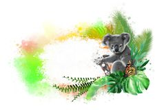 Koala and butterfly with a white banner on a rainbow of paint drops. royalty free stock photo