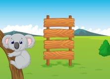 Koala cartoon with wooden sign stock illustration