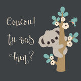 Koala climbing on a tree. Cute koala climbing on a tree and handwritten lettering in French `Coucou! Tu vas bien?` means Hello! Are you alright Vector Illustration
