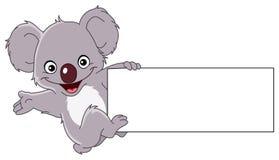 Koala con il segno Immagine Stock