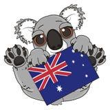 Koala con la bandiera Fotografie Stock