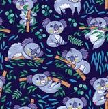 Koala d'amusement dans le modèle sans couture d'eucalyptus Illustration tirée par la main de vecteur illustration stock