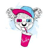 Koala in 3d glasses and a glass of soda. Vector illustration. Koala in 3d glasses and a glass of soda. Vector illustration Royalty Free Stock Photography
