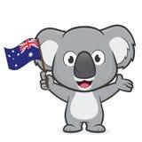 Koala die Australische vlag houden stock illustratie