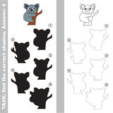 Koala. Find true correct shadow. Koala with different shadows to find the correct one. Compare and connect object with it true shadow. Visual game for children Stock Photography