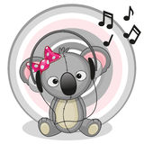 Koala with headphones Royalty Free Stock Photos