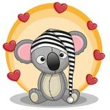 Koala with hearts stock illustration