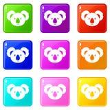 Koala icons 9 set Stock Photos