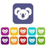 Koala icons set flat Stock Photos