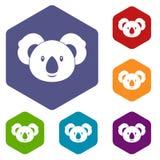 Koala icons set hexagon Royalty Free Stock Photography