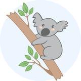 Koala linda de la historieta en un árbol Imagenes de archivo