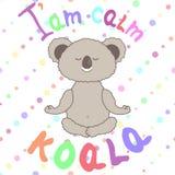 Koala meditante divertente su fondo senza cuciture in pois royalty illustrazione gratis