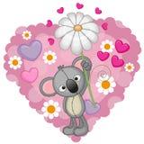 Koala met harten en bloem stock illustratie