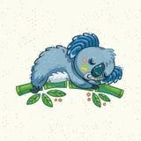 Koala mignon de bande dessinée sur un arbre Illustration de vecteur Images libres de droits