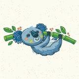 Koala mignon de bande dessinée sur un arbre Illustration de vecteur Images stock
