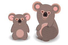 Koala mom and cub. Koala mother and cub are  on a white background Stock Photography