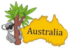 Koala op de boom met continent Australië vector illustratie
