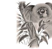 Koala på en filial av eukalyptuns royaltyfri illustrationer