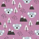 Koala Seamless Pattern Background. Scandinavian Happy cute koala in the forest between mountain tree and cloud, cartoon koala bears vector illustration for vector illustration