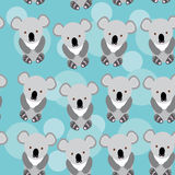Koala Seamless pattern with funny cute animal on a blue backgrou Royalty Free Stock Image