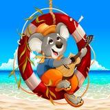 Koala spielt die Gitarre auf dem Strand lizenzfreie stockbilder