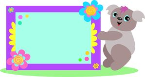 Koala with Spiral Floral Sign. This cute Koala Bear is holding a decorative Floral Sign Stock Photo