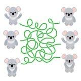 Koala sveglia divertente messa su fondo bianco gioco del labirinto per i bambini in età prescolare Vettore Fotografia Stock Libera da Diritti