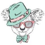 Koala sveglia in un cappuccio ed in un legame Vettore della koala Cartolina d'auguri con l'orso l'australia Inverno skier Vetri d Fotografia Stock