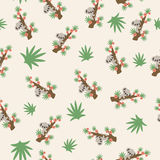 Koala on a tree seamless pattern. Cute cartoon koala on a tree pattern/wallpaper Royalty Free Illustration