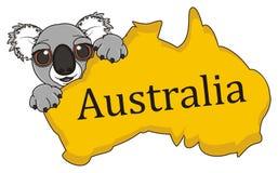 Koalahåll en australisk kontinent stock illustrationer