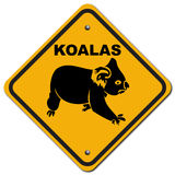 Koalas. The sign to warn you to beware the koala for this zone Stock Image