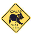 Koalas Sign. An illustrated Koalas road sign, isolated on a white background Royalty Free Stock Images
