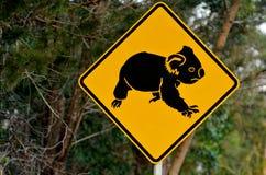 Koalawaarschuwingsbord Stock Afbeeldingen