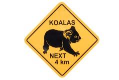 Koalawaarschuwingsbord Royalty-vrije Stock Foto