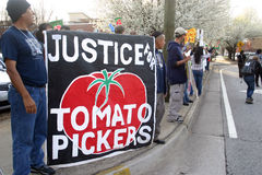Koalition des Protestes der Immokalee Arbeitskräfte (CIW) stockbild