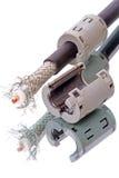 Koaxial kabel och ferrite låser Royaltyfria Bilder
