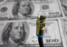 Koaxial kabel och kassa royaltyfria bilder