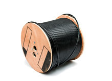 koaxial svart kabel royaltyfri bild