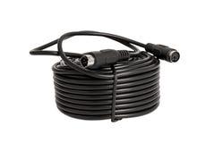 Koaxiala kablar med kontaktdon PS2 för säkerhetskameror & x28; CCTV& x29; isolerat på vit bakgrund Royaltyfri Fotografi