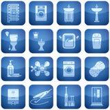 Kobalt-Quadrat-2D Ikonen eingestellt: Badezimmer Lizenzfreies Stockfoto