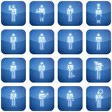Kobalt-Quadrat-2D Ikonen stellten ein: Besetzung Stockfoto