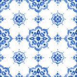 Kobaltblauverzierung der Aquarellweinlese mit Filigran geschmückte Stockfoto